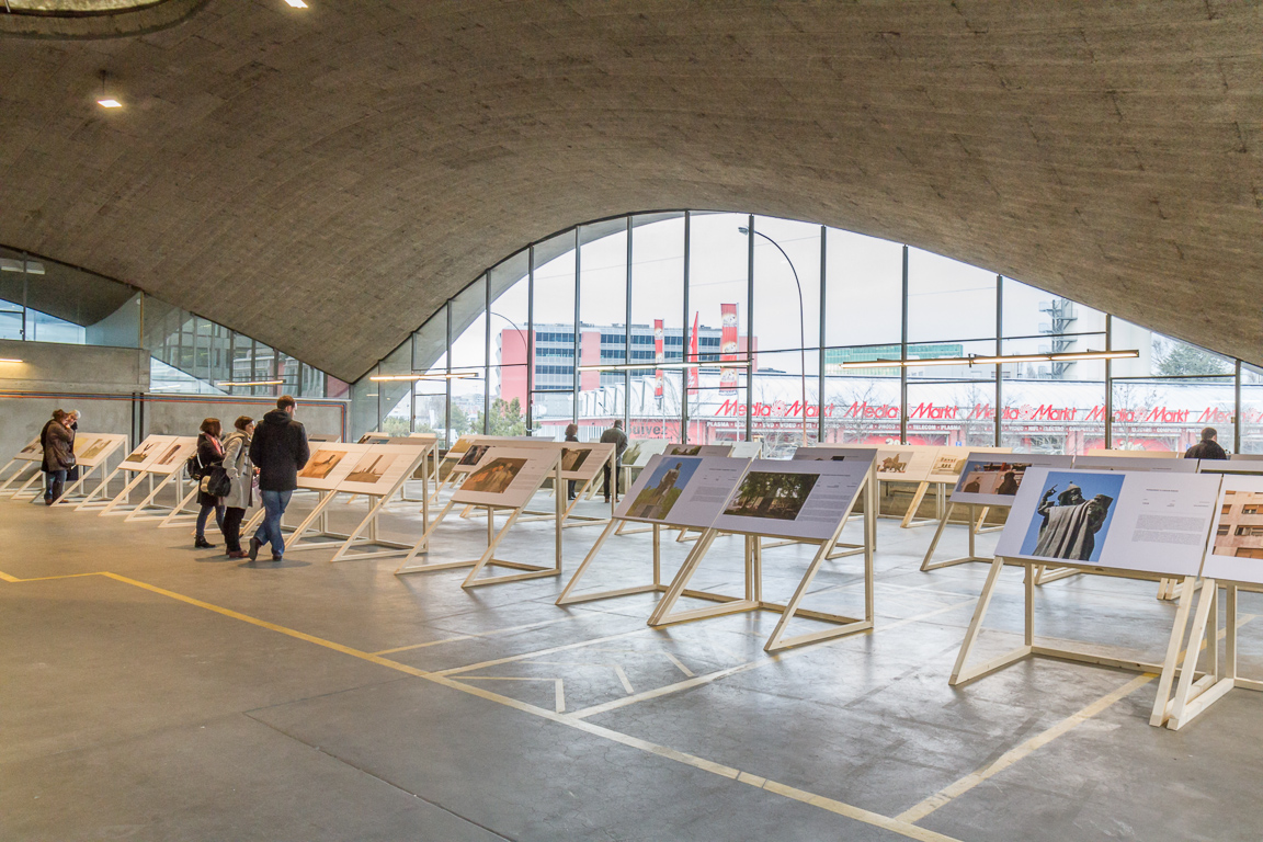 Vue d'ensemble de l'exposition Monumenti au pavillon Sicli