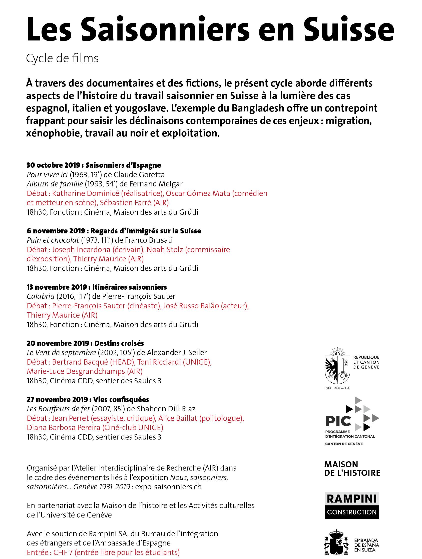 Cycle de films – Les Saisonniers en Suisse